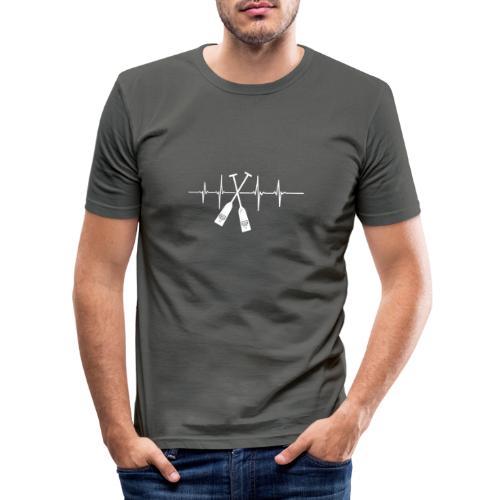 Drachenboot Paddel EKG Herzschlag - Männer Slim Fit T-Shirt