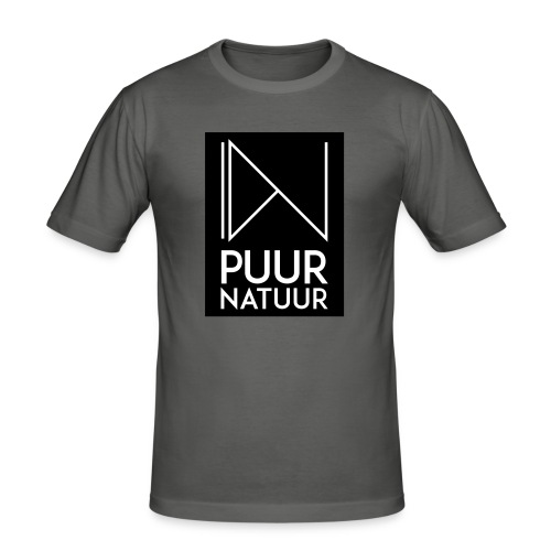 Logo puur natuur negatief - Mannen slim fit T-shirt