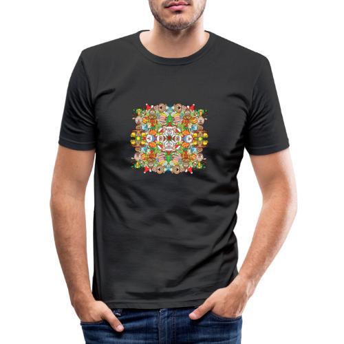 La foule de Noël s'amuse follement et à fond - Men's Slim Fit T-Shirt