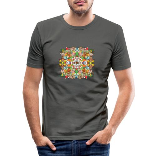 La foule de Noël s'amuse follement et à fond - Men's Slim Fit T-Shirt