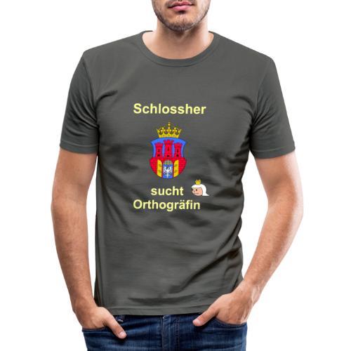 Schlossherr sucht Orthograefin lustiger Spruch - Männer Slim Fit T-Shirt