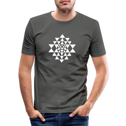 Valkoinen Shri Yantra -kuvio - Miesten tyköistuva t-paita