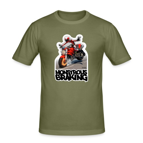 Ducati Monster, a motorcycle stoppie. - Camiseta ajustada hombre