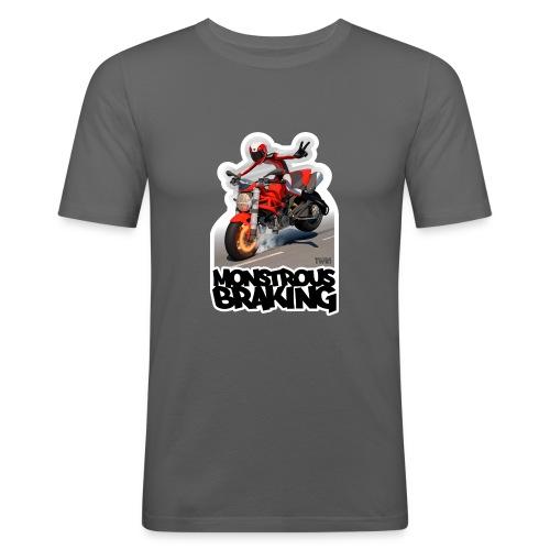 Ducati Monster, a motorcycle stoppie. - Camiseta ajustada hombre
