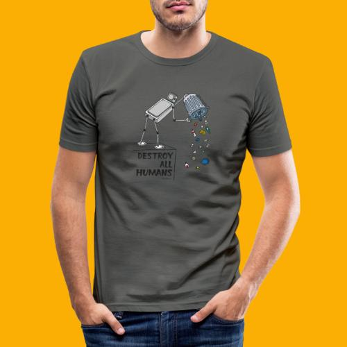 Dat Robot: Destruction By Pollution light - Mannen slim fit T-shirt