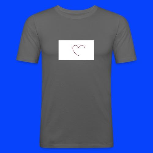 t-shirt bianca con cuore - Maglietta aderente da uomo