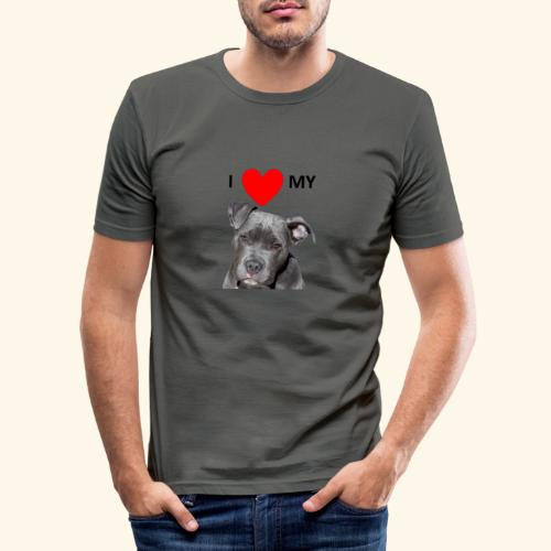 I love my Pitbull Hund Hunde Herrchen Frauchen - Männer Slim Fit T-Shirt