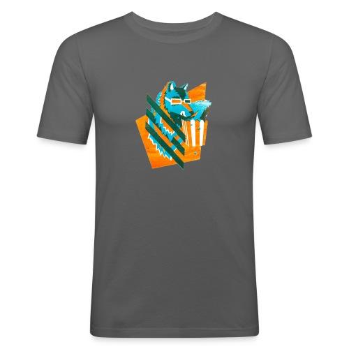 popcornwolf_logo_merch-0 - Mannen slim fit T-shirt