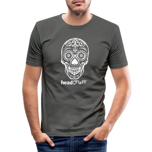 Skull & Logo white - Männer Slim Fit T-Shirt