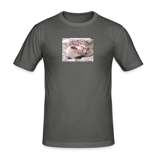CAT SURROUNDED BY MICE AND BUTTERFLIES. - Men's Slim Fit T-Shirt