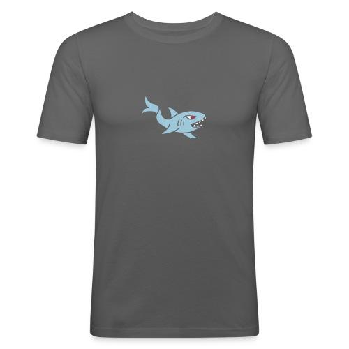 hai shark hungrig hungry fisch white weiß comic - Männer Slim Fit T-Shirt
