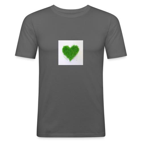 Herzrasen Button - Männer Slim Fit T-Shirt