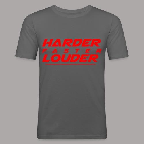 Harder Faster Louder Tekst Red - Mannen slim fit T-shirt