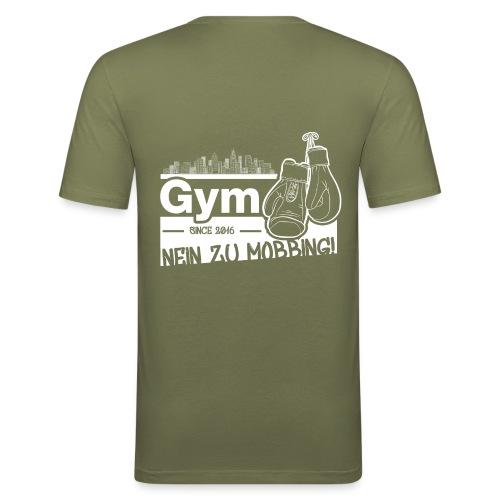 Nein zu Mobbing Men Druckfarbe weiß - Männer Slim Fit T-Shirt