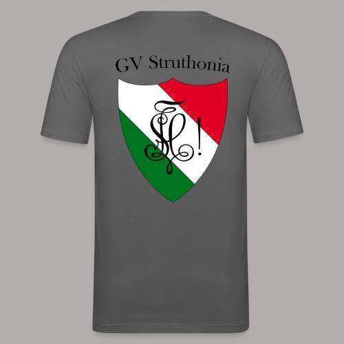 Wappen Struthonia beschriftet - Männer Slim Fit T-Shirt