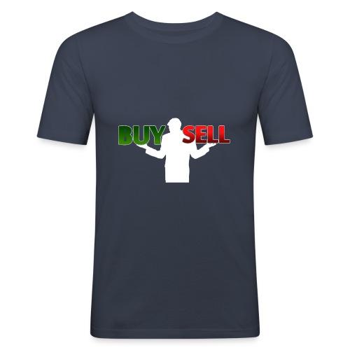 Buy Sell mit weißer Person - verschiedene Farben - Männer Slim Fit T-Shirt