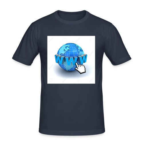 14821565-Internet-world-wide-web-concept-Earth-glo - Slim Fit T-shirt herr