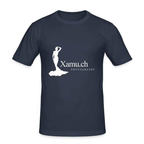 logoxamuweiss_gross_kl - Männer Slim Fit T-Shirt