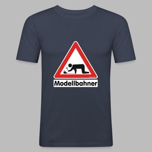 Warnschild Modellbahner E Lok - Männer Slim Fit T-Shirt