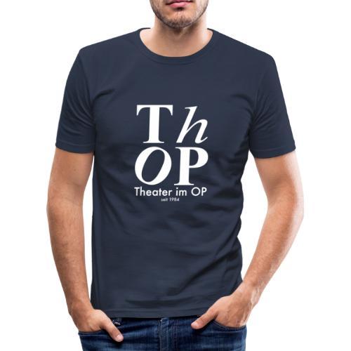 Großes Logo WEISS - Männer Slim Fit T-Shirt