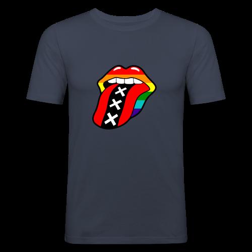 Gay pride rainbow mond met tong en Amsterdam logo - slim fit T-shirt