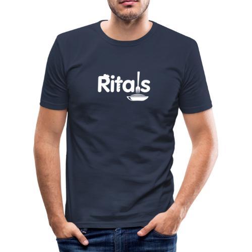 Logo Ritals bianco negativo - Maglietta aderente da uomo
