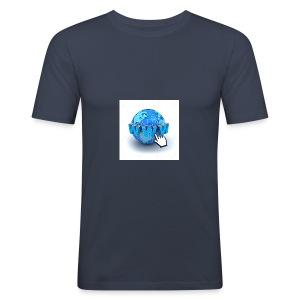 14821565-Internet-world-wide-web-concept-Earth-glo - Slim Fit T-shirt herr