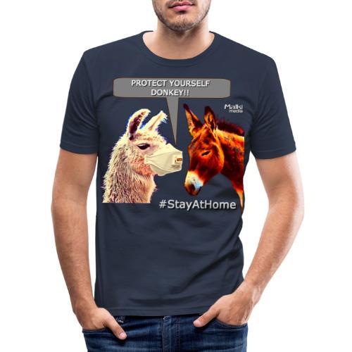 Protect Yourself Donkey - Coronavirus - Men's Slim Fit T-Shirt