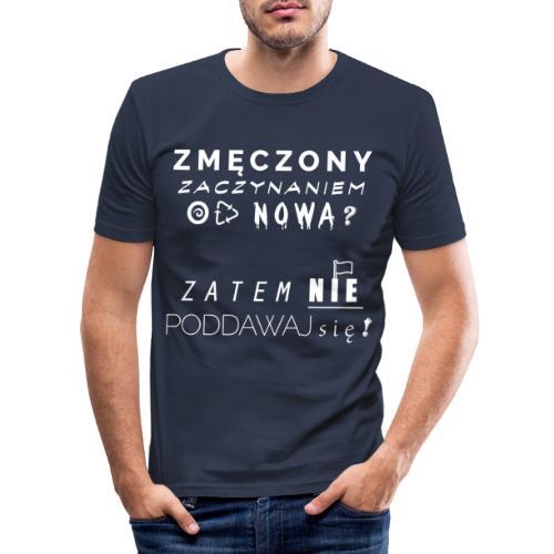 ZMĘCZONY JUŻ ? (Wersja Biała) - Obcisła koszulka męska