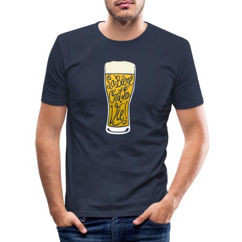 bière, la bière c'est la vie! - T-shirt près du corps Homme