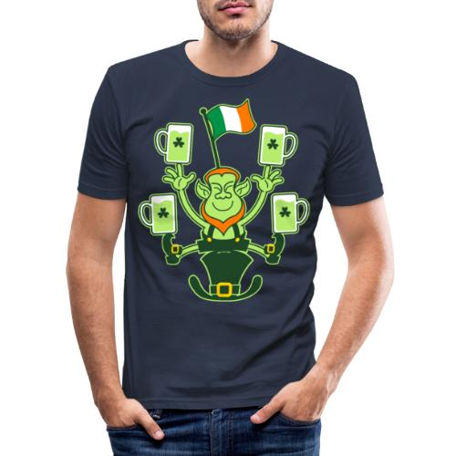 Leprechaun Juggling Beers and Irish Flag - Men's Slim Fit T-Shirt