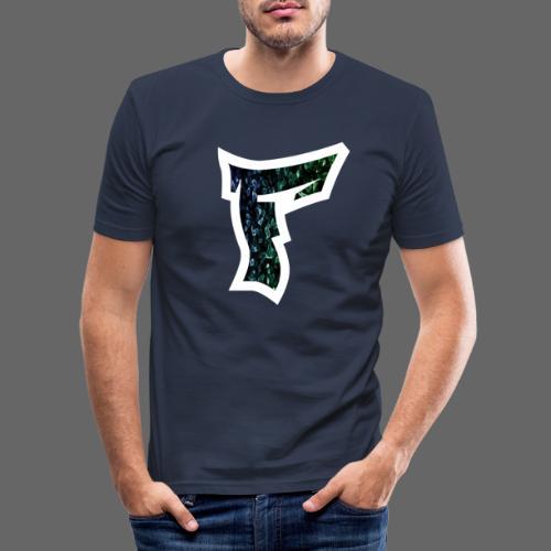 Rauch in Farben mit F Logo in Weiß - Männer Slim Fit T-Shirt