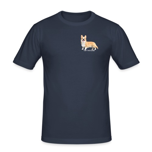 Topi the Corgi - White text - Men's Slim Fit T-Shirt