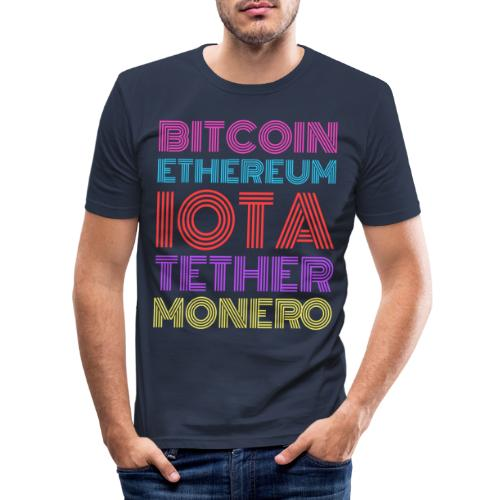 Retro Crypto | Bitcoin, Ethereum, IOTA, Tether - Männer Slim Fit T-Shirt