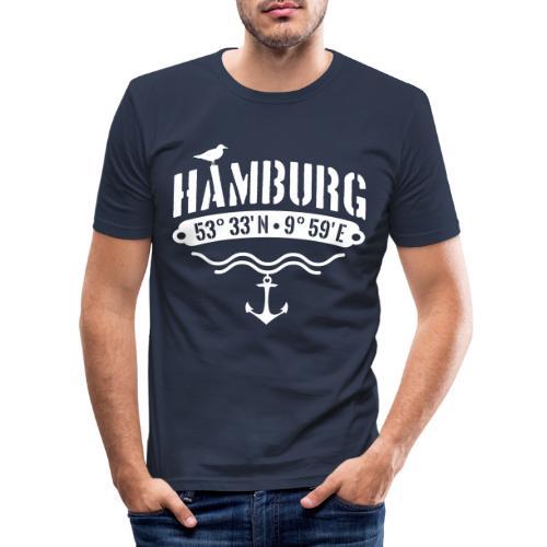 Hamburg Koordinaten Anker Möwe Längengrad - Männer Slim Fit T-Shirt
