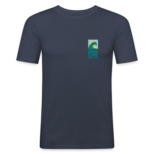 Ride with fun Logo - Männer Slim Fit T-Shirt