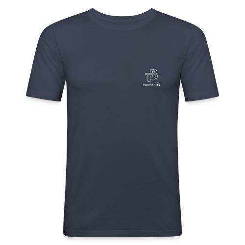 tinius-bil-logo_white - Slim Fit T-skjorte for menn