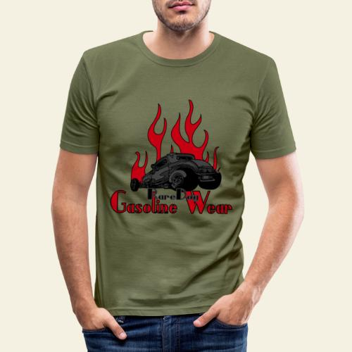 2 Window Hotrod with Flames - Herre Slim Fit T-Shirt