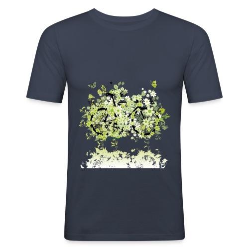 Vélo fleurs vert - T-shirt près du corps Homme
