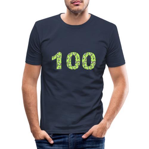 white man 100 followers - Maglietta aderente da uomo