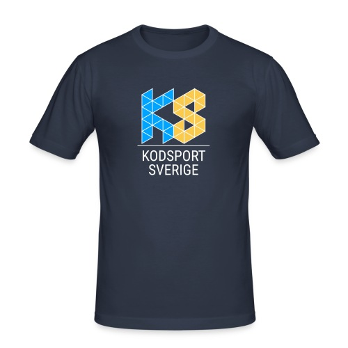 Kodsport kvadratisk logotyp - vit text - Slim Fit T-shirt herr