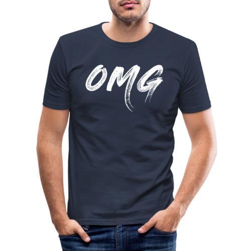 OMG, valkoinen - Miesten tyköistuva t-paita