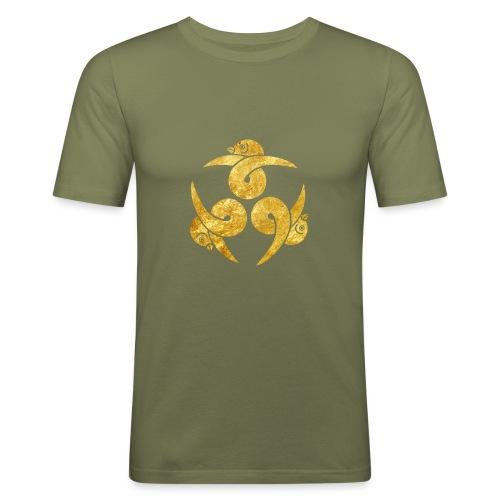 Three Geese Japanese Kamon in gold - Men's Slim Fit T-Shirt