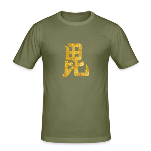 Uesugi Mon Japanese samurai clan in gold - Men's Slim Fit T-Shirt