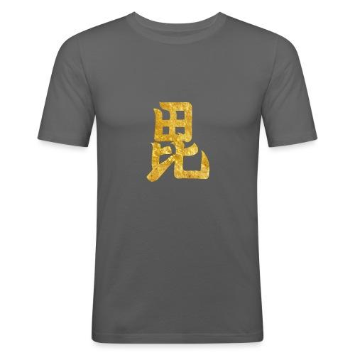 Uesugi Mon Japanese samurai clan in gold - Men's Slim Fit T-Shirt