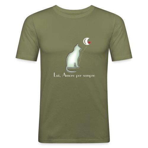 GATTO-E-LUNA - Maglietta aderente da uomo