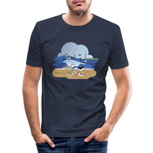 See... birds on the shore - Men's Slim Fit T-Shirt