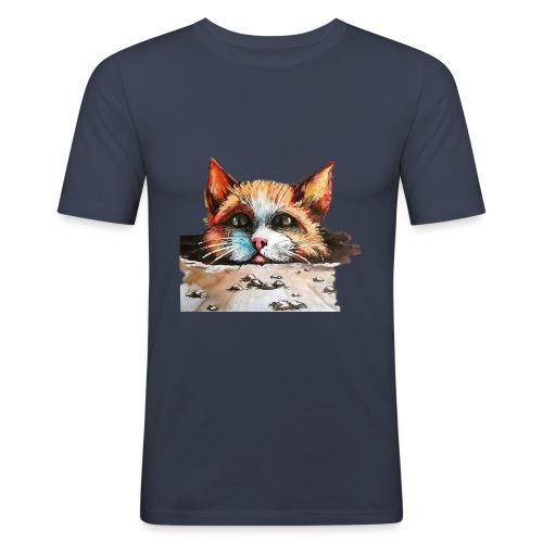 Roter Kater - Männer Slim Fit T-Shirt