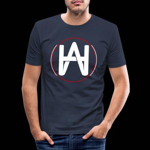 Hombre Alpha Logo en Blanco sobre Negro - Camiseta ajustada hombre