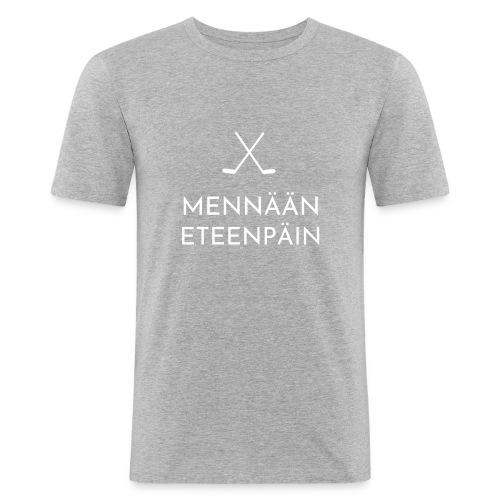 Mennaeaen eteenpaein valkoinen - Miesten tyköistuva t-paita